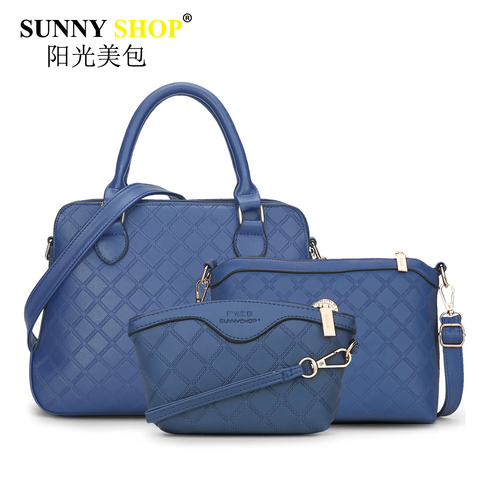 все цены на  2017 New Fashion Women Knitting Handbag Socialite Composite Bag Hot Sale Shoulder Messenger Bags Blue Zipper Clutch Pu Tote Mb33  онлайн