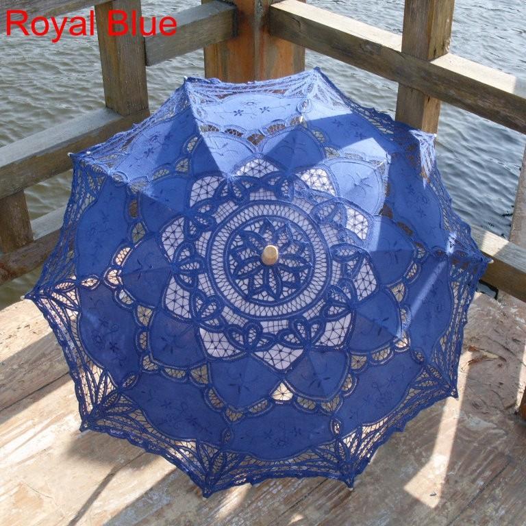 New Lace Umbrella Cotton Embroidery White/Ivory Battenburg Lace Parasol Umbrella Wedding Umbrella Decorations Free Shipping 35