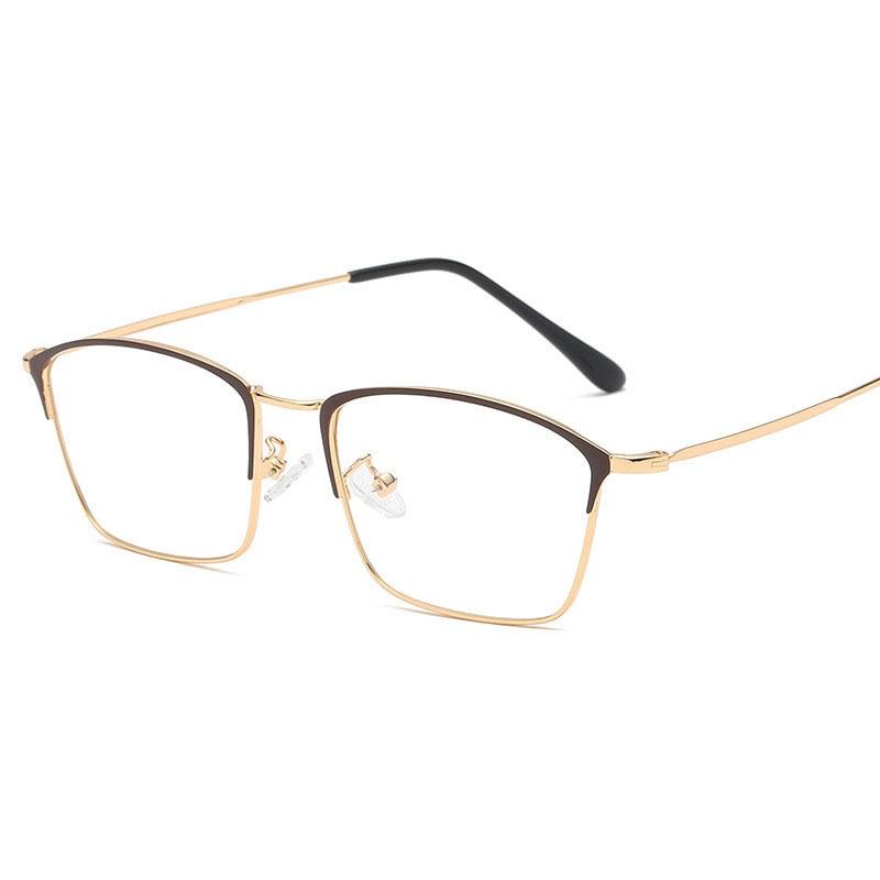 New Mens Prescription Glass Frame, Blue-proof Metal, Square Frame Retro-vintage, Flat