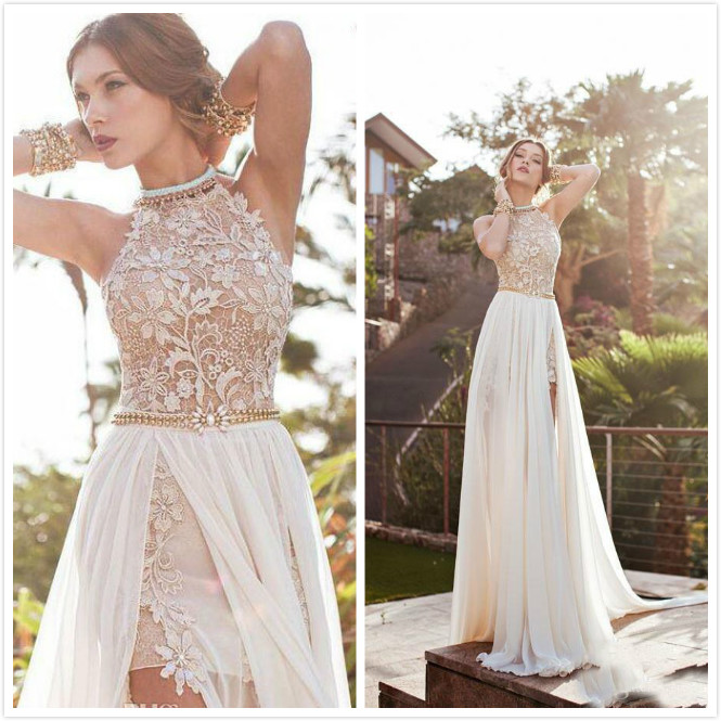Halter Neck Wedding Gowns: Sexy Backless Lace Beach Wedding Dress 2016 Bohemia Halter