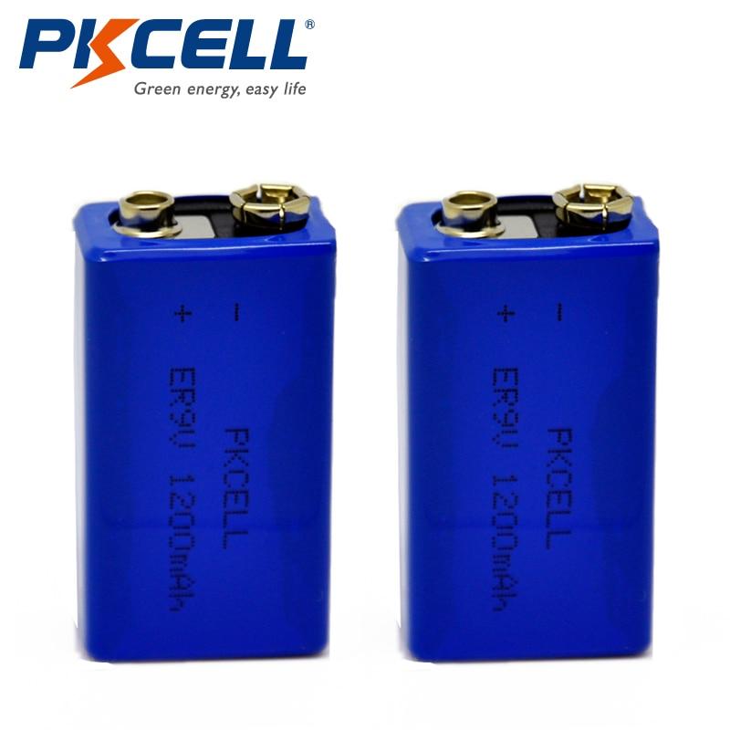 2PCS PKCELL ER9V Battery 1200mAh 9V Li-SOCl2 Lithium Batteries Bateria Baterias For Alarm device 2pcs pkcell icr 17500 battery 1100mah 3 7v li ion rechargeable battery lithium batteries bateria baterias