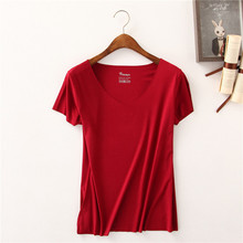 Summer Solid Color Simple Casual Clothing Brand Women T-Shirt Short Sleeve V-neck Tops Tees Female Ladies t shirt Plus Size