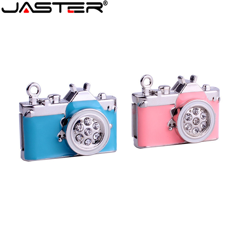 JASTER Metal Simulated crystal Camera USB 2.0 Drive original memory stick hot sale pendrive 4GB/8GB/16GB/32GB/64GB best gift image