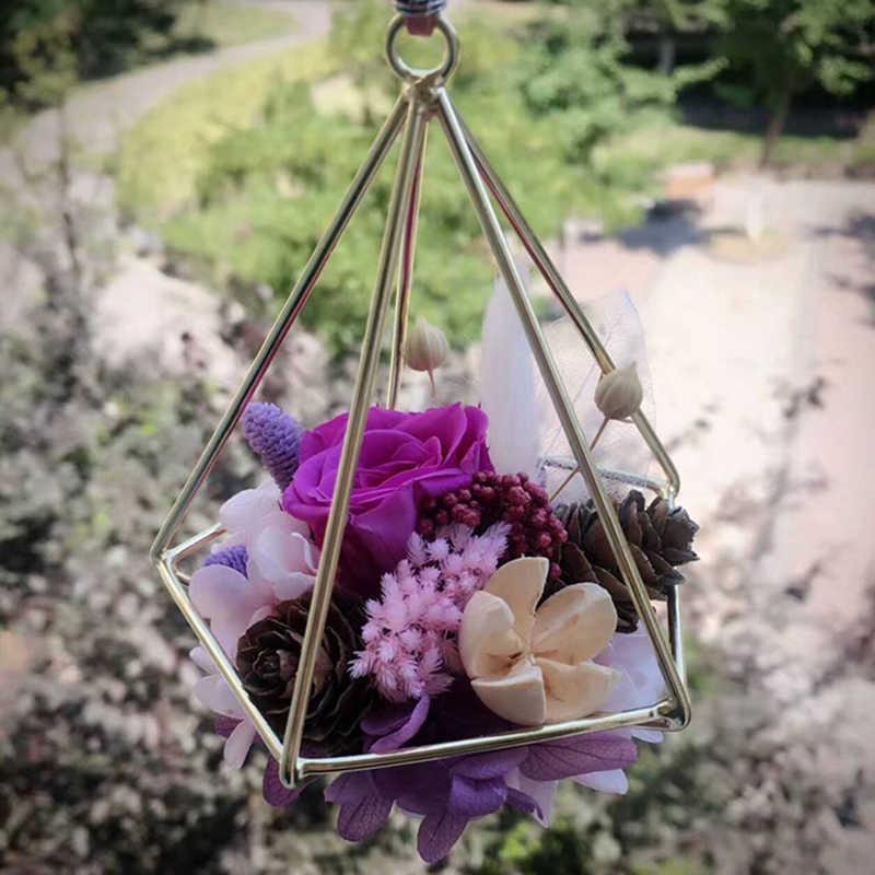 Terrário Caixa Moss Fern Independente de Suspensão Vaso de Flores da Decoração Do Vintage Geométrica de Metal Vaso de flor Pot Rack de Tillandsia