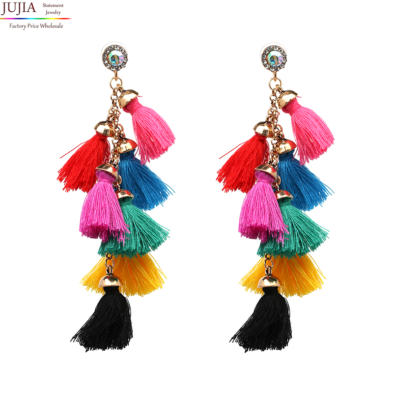 JUJIA Jewelry & Accessories jewelry earrings fashion women statement tassel Earrings for women drop pom pom Fringing earrings