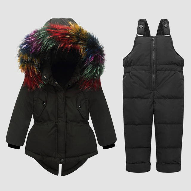 f9216be41 30 degree Russia Winter Children Clothing Down Sets Baby Girls ...