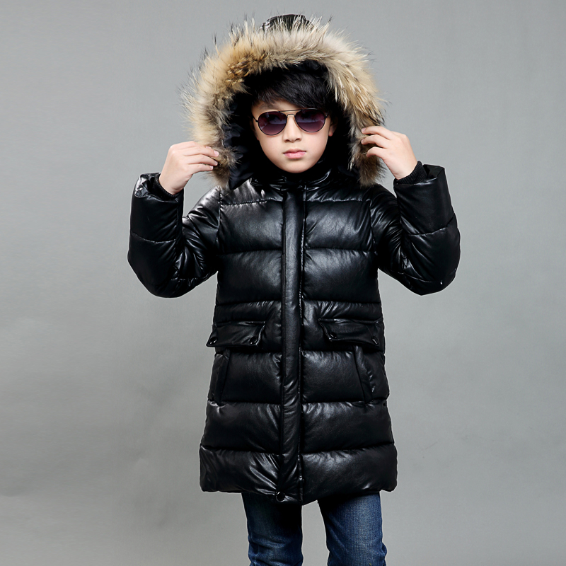 2017 Fashion girls winter coat Faux Fur cuff Thick Warm Cotton Children Clothing Kids Clothes Parkas Quality Leather Boys jacket korean baby girls parkas 2017 winter children clothing thick outerwear casual coats kids clothes thicken cotton padded warm coat