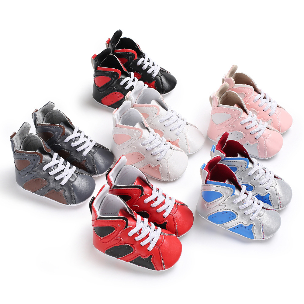 New Hot Fashion Branded Infant Shoes Baby Boy Soft Sole PU Leather Crib non-slip baby Shoes Sport High Top Girls First Walkers