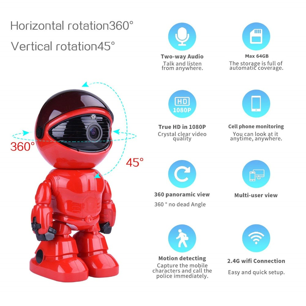 1080p Hd Network Camera Two-way Audio Wireless Network Camera Night Vision Motion Detection Camera Robot Pet Baby Monitor Baby Monitors Video Surveillance