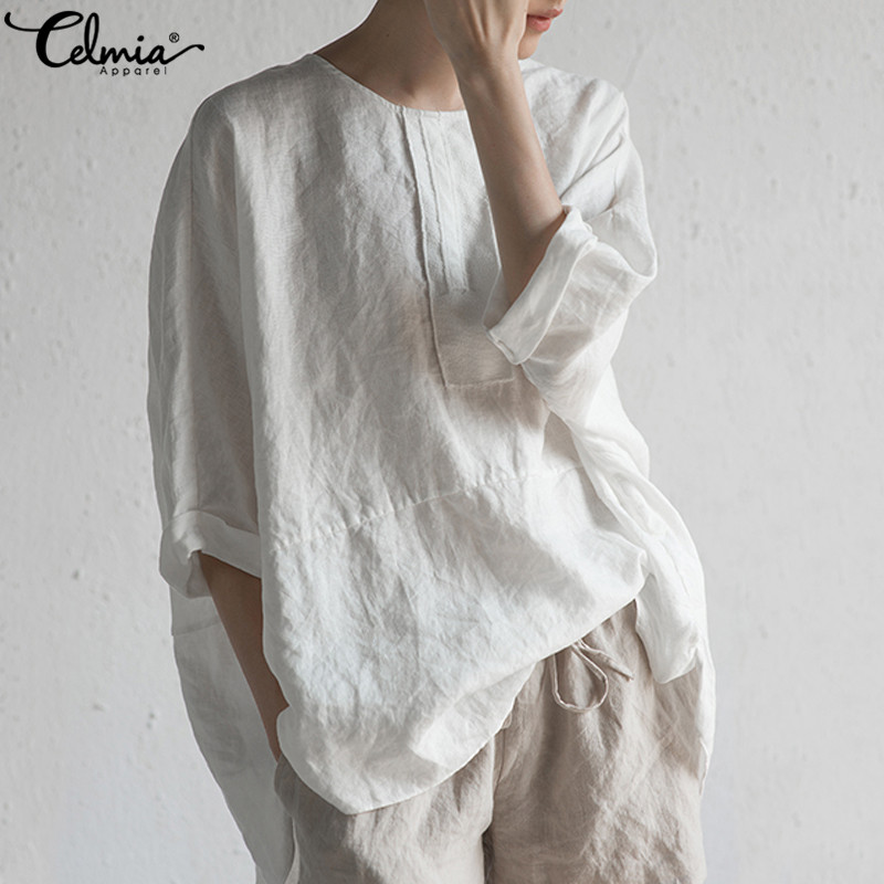 Vintage Women Blouse Celmia 2019 Summer Cotton Tunic Top Loose Bat Sleeve Shirts Split Buttons Casual Blusas Femme Plus Size Tee(China)