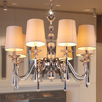 Modern brief k9 crystal pendant light living room bedroom lamp crystal fabric lamp