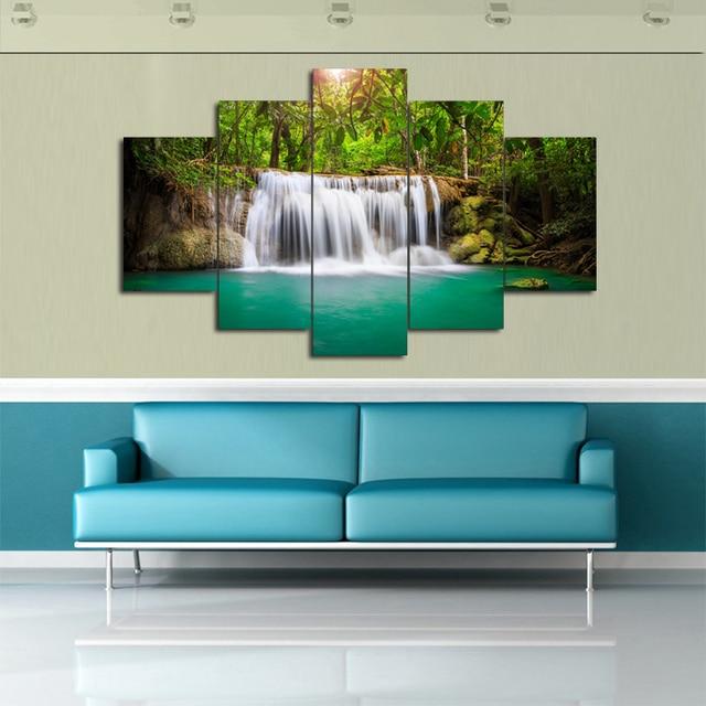 5 panneaux petite chute avec vert d 39 eau avec shell peinture pour le salon mur art photo cadeau. Black Bedroom Furniture Sets. Home Design Ideas