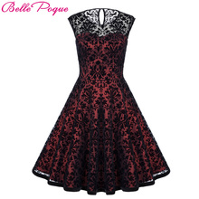 Belle Poque Summer Dresses Casual Woman Clothing 2017 Retro Tunic Women Vintage Lace Party Dress 50s Big Swing Rockabilly Dress