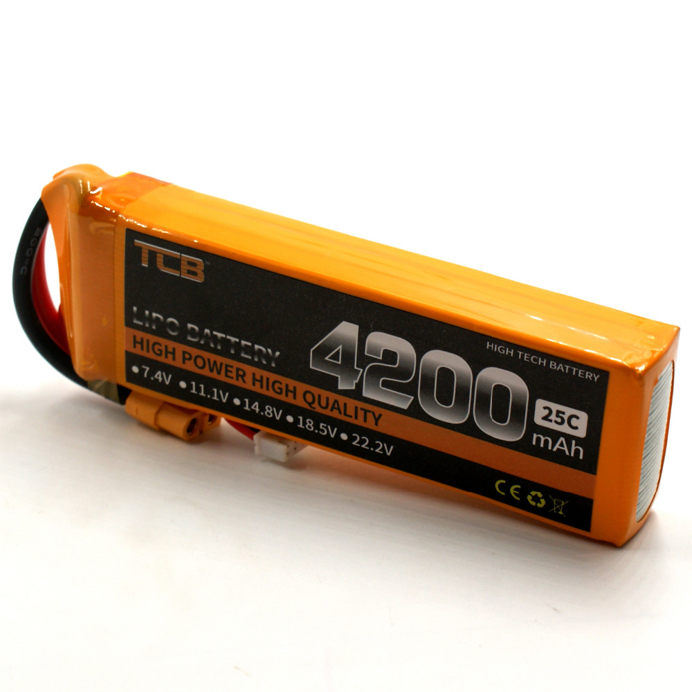 TCB RC Lipo battery 11.1v 4200mAh 25C 3s RC airplane Helicopter Four axis RC Car Boat power T XT60 Free shipping