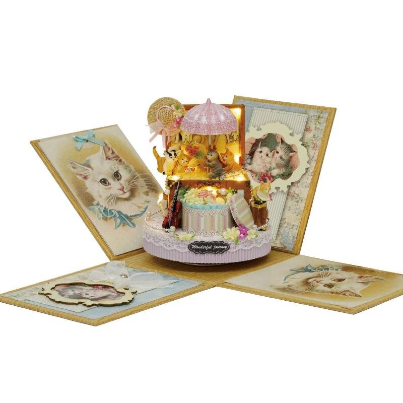 Candy Cat Doll House  Explosion CASA DE BONECA POPPENHUIS Box Accessories Miniature Dollhouse Kit Toys
