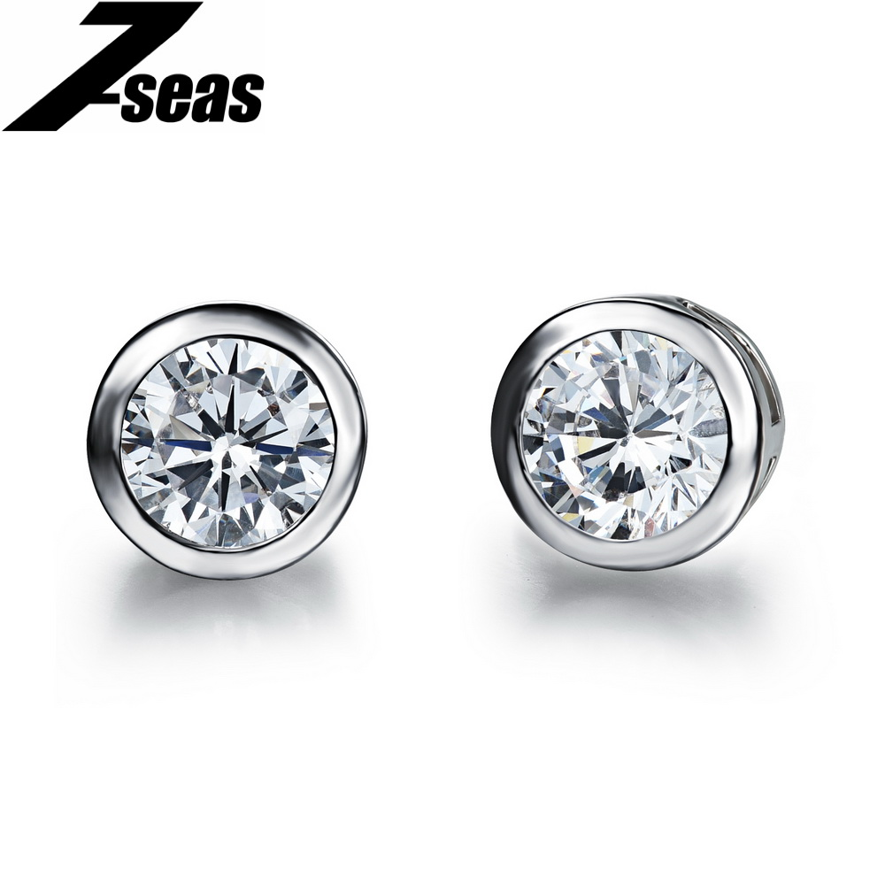 Popular Brand Round Cubic Zirconia Crystal Stud Earrings White Gold Color  Fashion Women Men Summer Jewelry