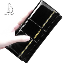 BETH CAT 2018 New Fashion Genuine Leather Women Wallet Female Hasp Purse Long Coin Purses Ladies Wallets Cowhide Red