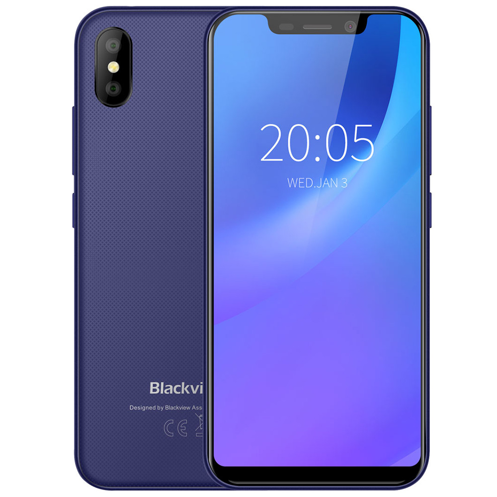 Blackview A30 3G Phablet 5,5 pulgadas Android 8,1 MTK6580A Quad Core 1,3 GHz 2 GB RAM 16 GB 8.0MP + 0.3MP cámara trasera Face ID 2500 Mah