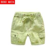 BEKE MATA Cotton Shorts For Boys 2017 NEW Casual Summer Kids Pants Boys Shorts Solid Linen Drawstring Children Shorts Beach Boys