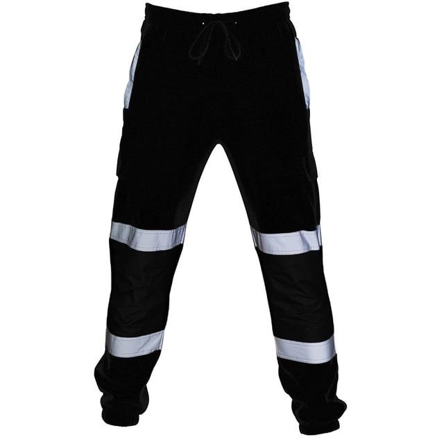 Sweatpants Men Road Work High Visibility Overalls Pocket Work Casual Trouser Hip Hop Streetwear Pantalon Homme 3