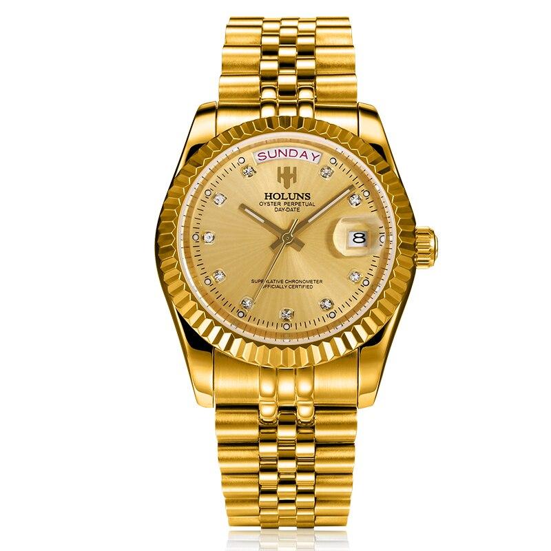 Роскошные золотые Holuns оригинальные деловые мужские механические часы из нержавеющей стали водонепроницаемые ударостойкие reloj digital 2017