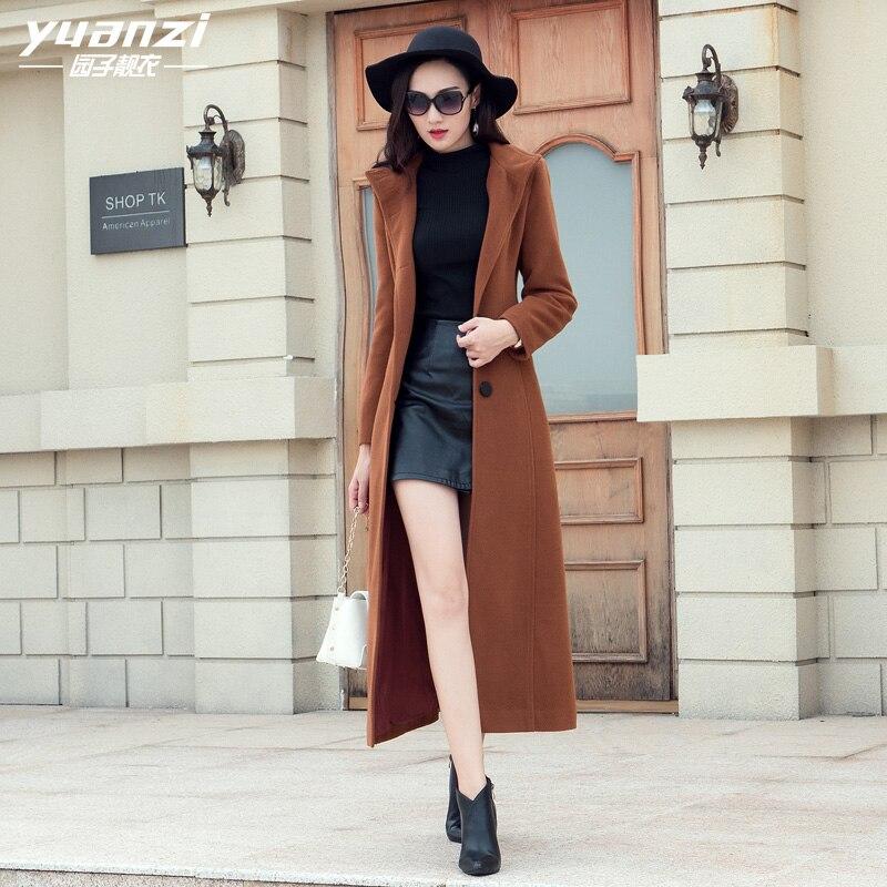 Online Shop New 2017 Women Winter Coat Dark brown Wool Blend Coat ...