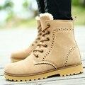 Nuevo invierno de la nieve botas estilo Británico retro zapatos de las mujeres par caliente botas de moda de color sólido cómodo DT528