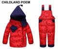 Зима девочки одежда наборы точка принцесса hodded вниз пальто теплые комбинезоны куртки + нагрудник Брюки малышей детские мальчики девочки одежда
