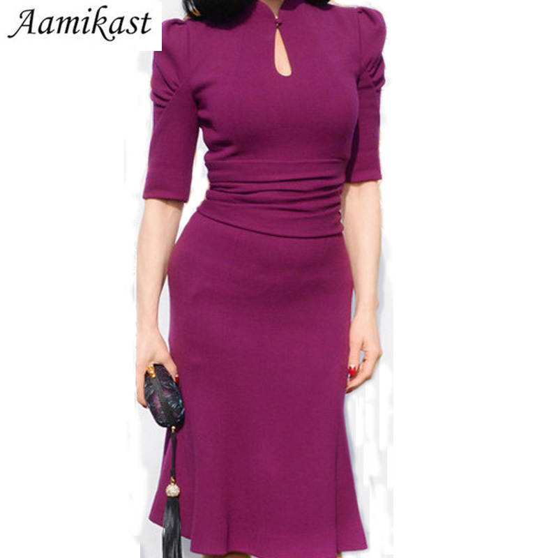 H ljubičasta ženska haljina Midi ispupčena večernja zabava - Ženska odjeća - Foto 3