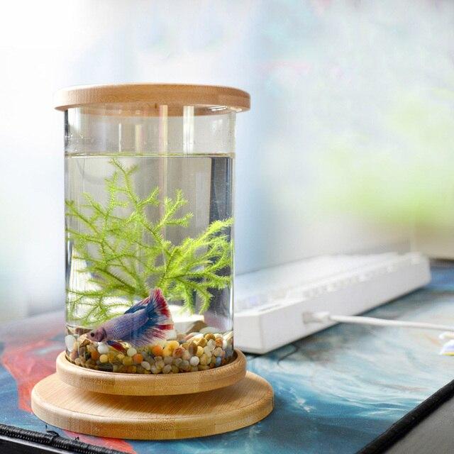 1pcs Glass Betta Fish Tank with  Bamboo Base  2