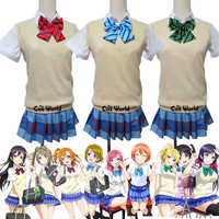 Love Live LoveLive Sweater Knitwear Vest School Uniform Outfit Anime Cosplay Costumes