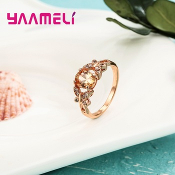Wholesale Micro AAAA Prong Setting Cubic Zirconia Finger Rings For Women Female Crystal Jewelry Present Rose Gold Color 3