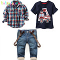 2Piece/2-7Years/Spring Autumn Children Clothing Sets Casual Fashion Shirt+T-shirt+Jeans Baby Boys Suits For Kids Clothes BC1350