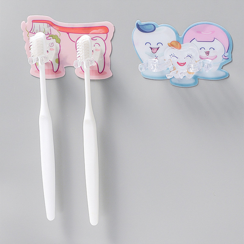 Toothbrush Holder Wall Mount Toothbrush Rack toothbrush storage holder 3/2 Hook Self-Adhesive Toothbrush Organizer image