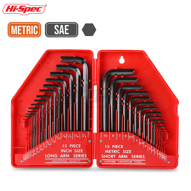 Hi-Spec 30pc Allen Key Set Hexagon Torque Wrench Tool Set Metric Universal Key Spanner Flat Keys Allen Wrench Hex Key Kit in Box