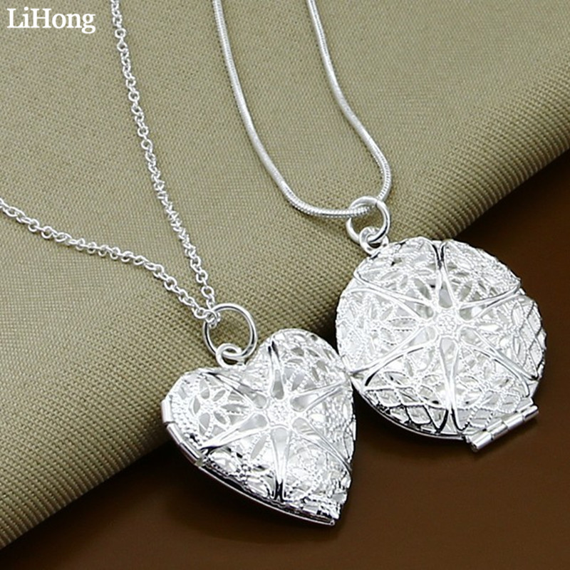 Necklace Jewelry Pendant Gifts Romantic Silver-Plated Fashion Round Memory-Box Photo-Frame