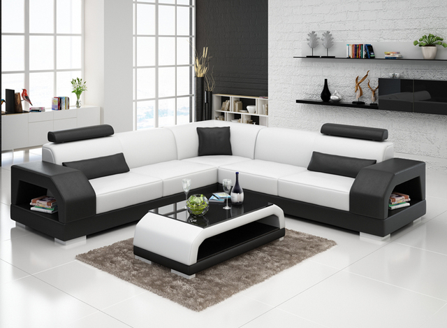 Modern Sofa Set Designs For Living Room Paint Color Small Rooms Popular Furniture Leather Custom Design G8001b