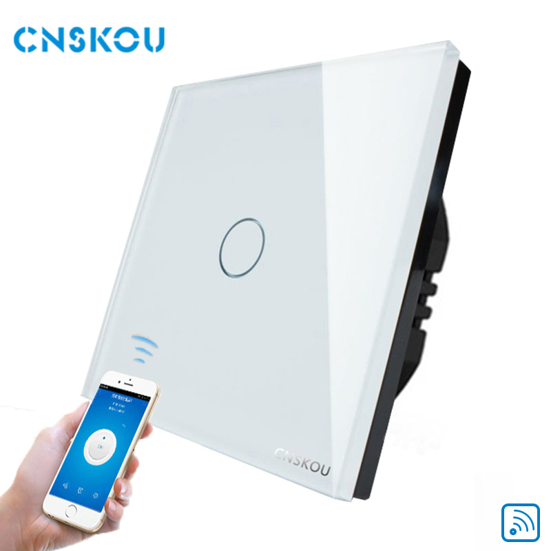 Cnskou Manufacturer Wifi Touch Switch, LED Light Wall Smart Home Remote Control Touch Switch,1 Gang 1 Way Luxury Glass Panel smart home us black 1 gang touch switch screen wireless remote control wall light touch switch control with crystal glass panel