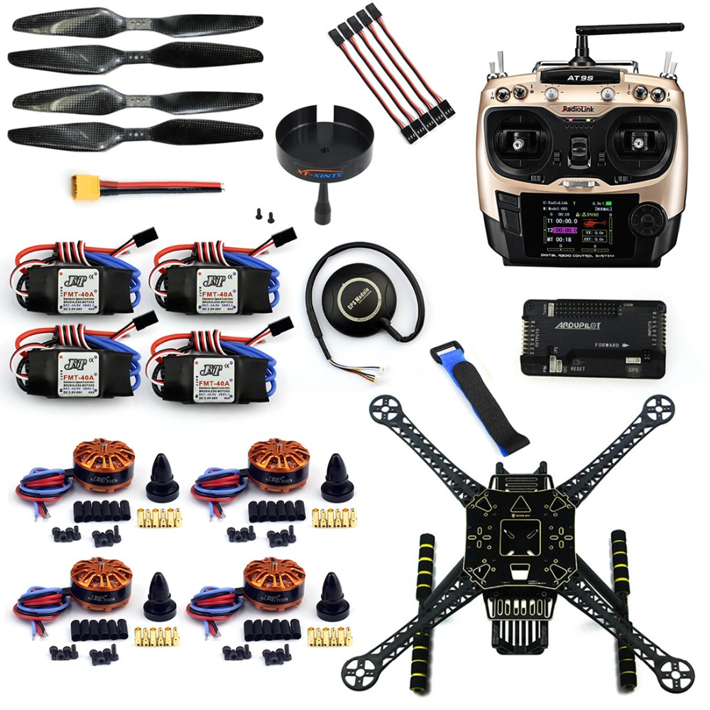 F19457-G DIY 4 Axle RC FPV Drone S600 Frame Kit with APM 2.8 Flight Control Radiolink AT9S Transmitter 700KV Motor 40A ESC GPS