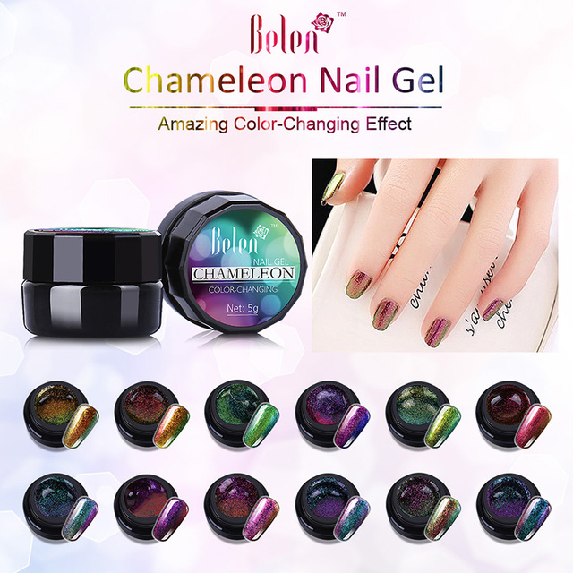 Belen 5ml Gel Polish Varnishes Color Changing Nails Glue Acrylic Paint Nail Brush Uv