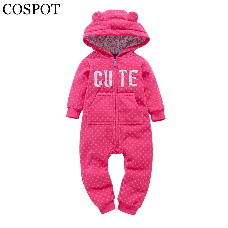 COSPOT Bebe Clothes Newborn Hoodie Fleece Hooded Jumpsuit Spring Long Sleeved Romper Baby Boy Baby Girl Clothes 2019 New 40