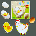 Baby Toys Wooden Puzzle The Chicken Growth Funny Multilayer Puzzles The Kindergarten Educational Toys Birthday/Christmas Gift