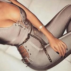 Macacão sexy cinza com gola v feminino, com atadura, moda de designer de celebridades 2018