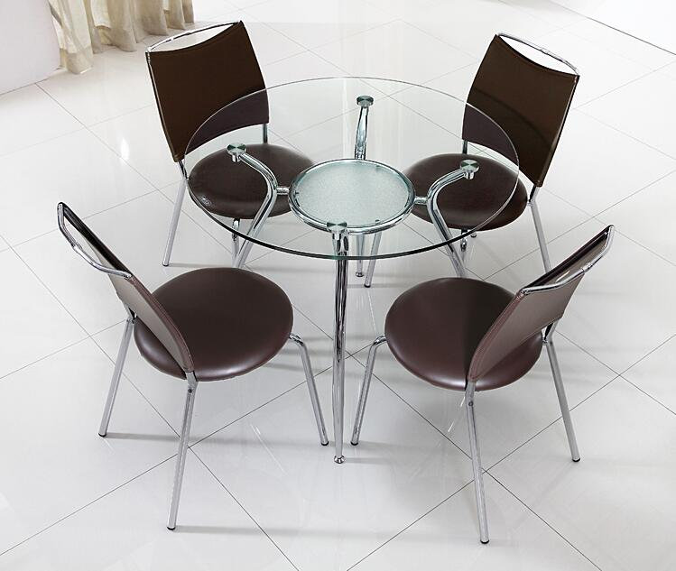 Toughened glass talks about table and chair. Training round table for visitors