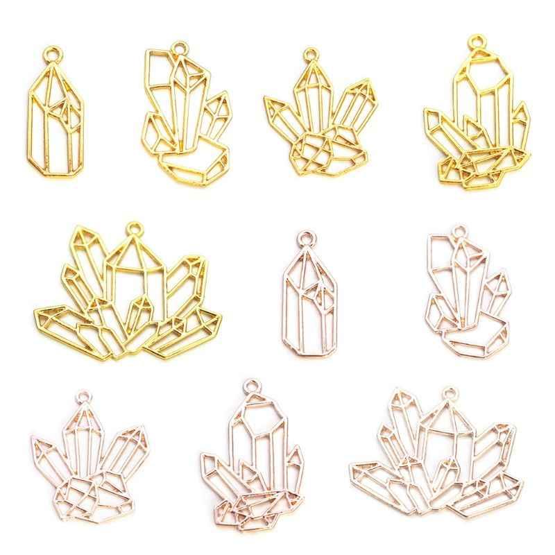 10 個水晶クラスター水滴ハートの花の金属のペンダントチャーム UV 樹脂 Diy ジュエリーメイキング鋳造クラフト