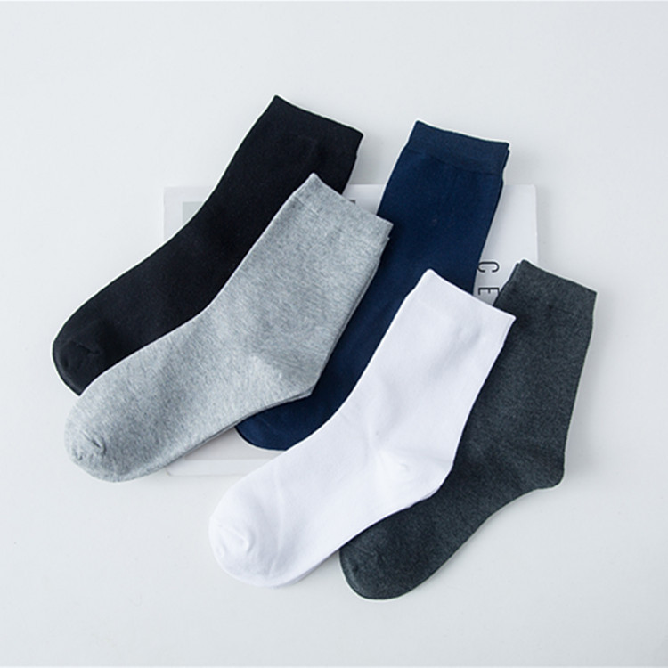 2018 new spring and autumn mens cotton business socks black and white gray classic mens socks