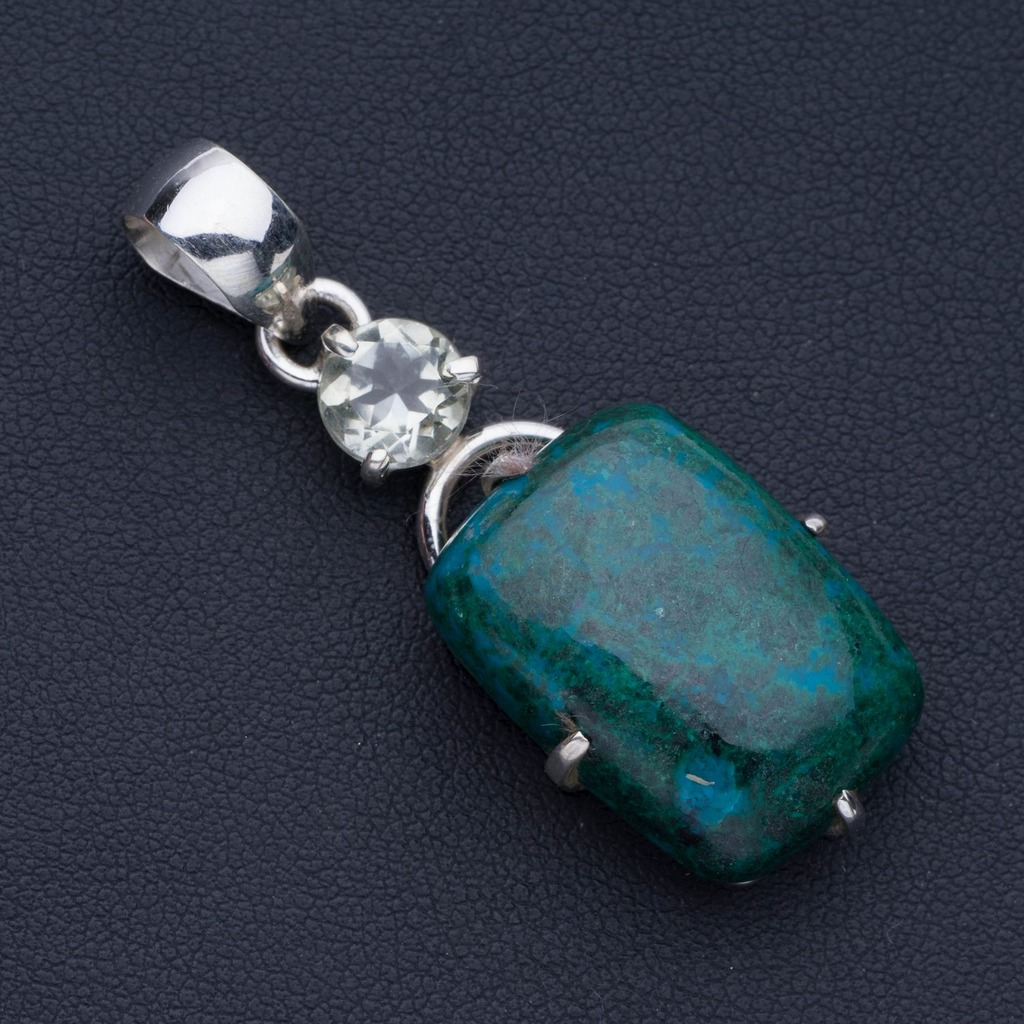 Natural Chrysocolla and Green Amethyst Punk Style 925 Sterling Silver Pendant 2 P0731Natural Chrysocolla and Green Amethyst Punk Style 925 Sterling Silver Pendant 2 P0731