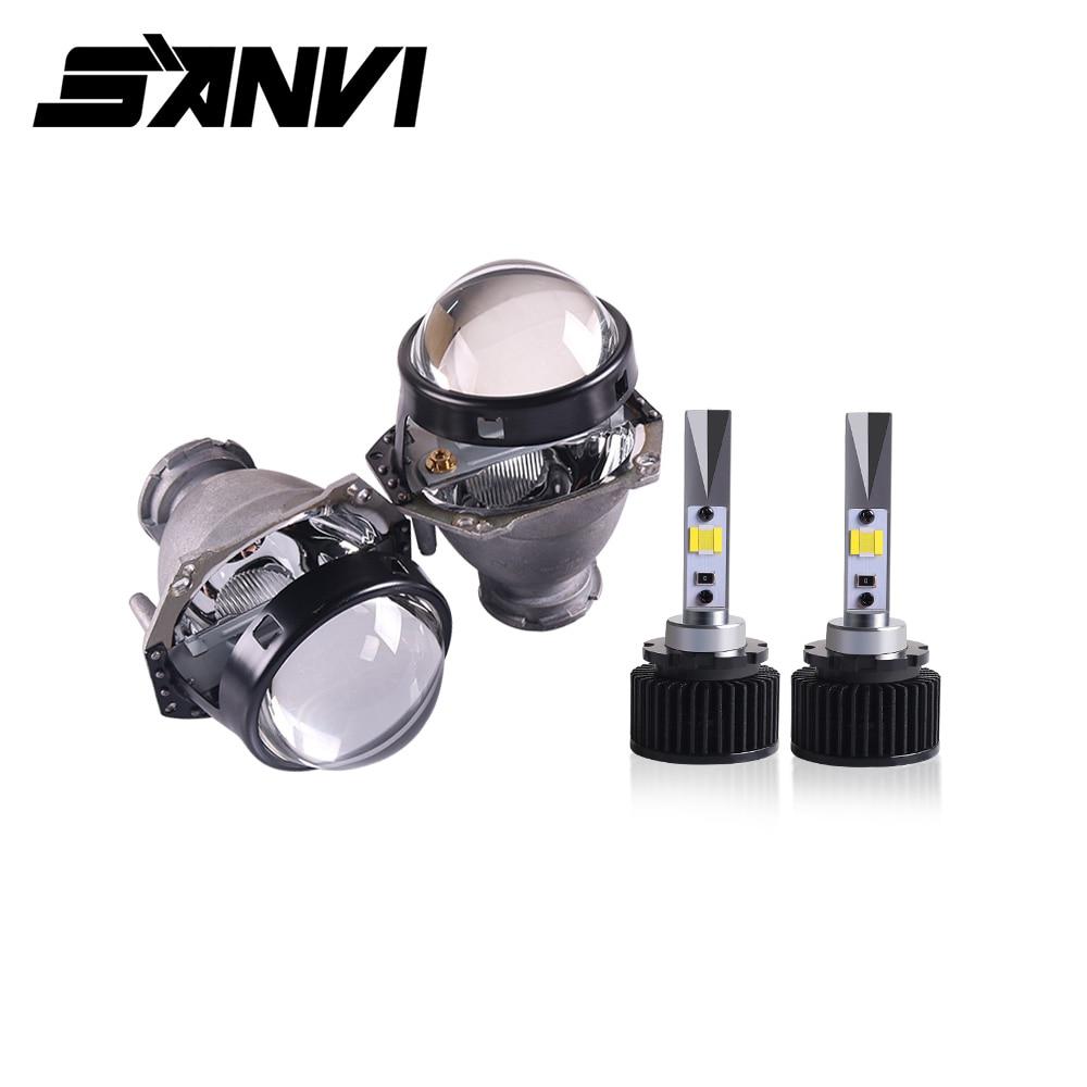 Sanvi 2pcs D2H 5500K 3000K White Yellow Dual Color LED Headlight Bulb With HD Bi LED Lens Hella Lens For Fog Light LED