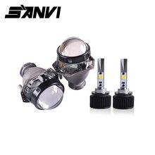 Sanvi 2pcs D2H 5500K 3000K bianco giallo doppio colore LED lampadina del faro con obiettivo HD Bi LED lente Hella per fendinebbia LED