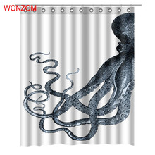 WONZOM 2017 Animal Shower Curtains with 12 Hooks For Bathroom Decor Modern 3D Polyester Fabric Bath Waterproof Curtain New Gift